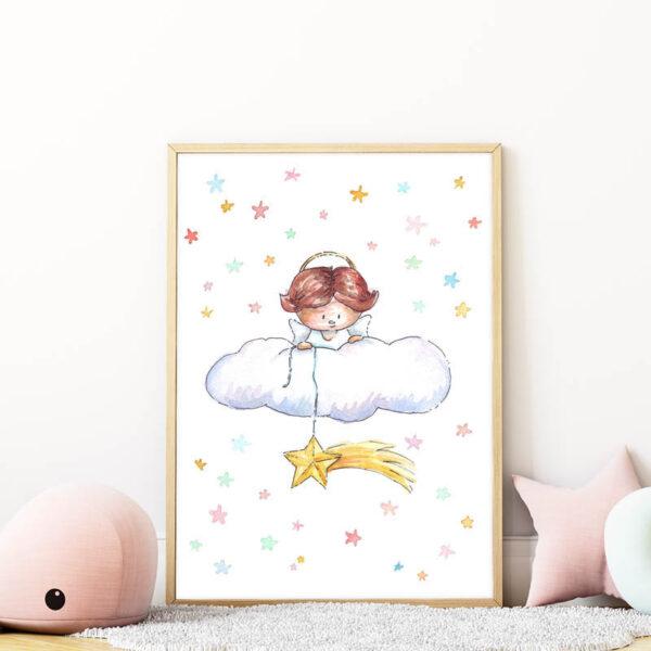 angyal csillaggal falikép gyerekszobába mARTás