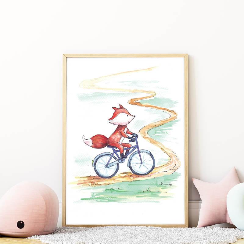 bicikliző róka falikép gyerekszobába mARTás