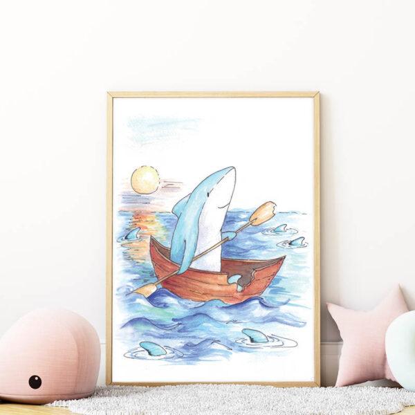 cápás falikép gyerekszobába mARTás