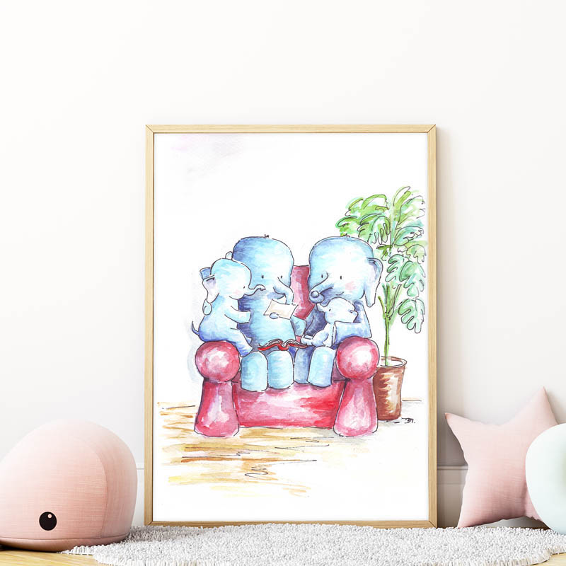 elefánt család falikép gyerekszobába mARTás