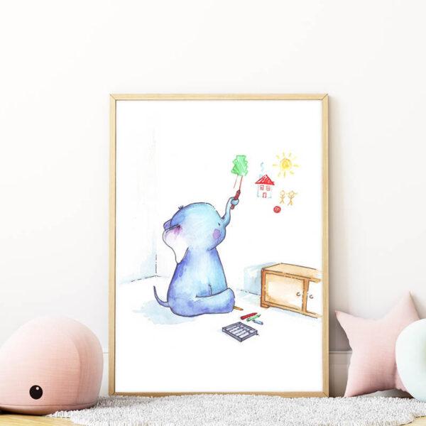 falra rajzoló kiselefánt falikép gyerekszobába mARTás