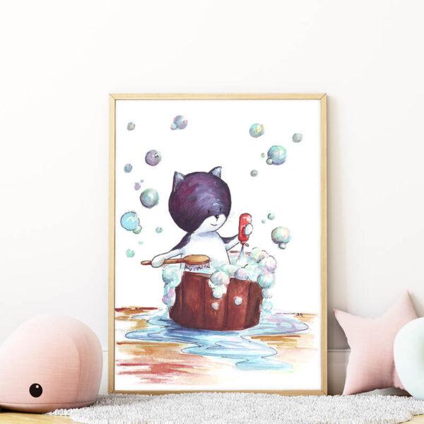 fürdő cicás falikép gyerekszobába mARTás
