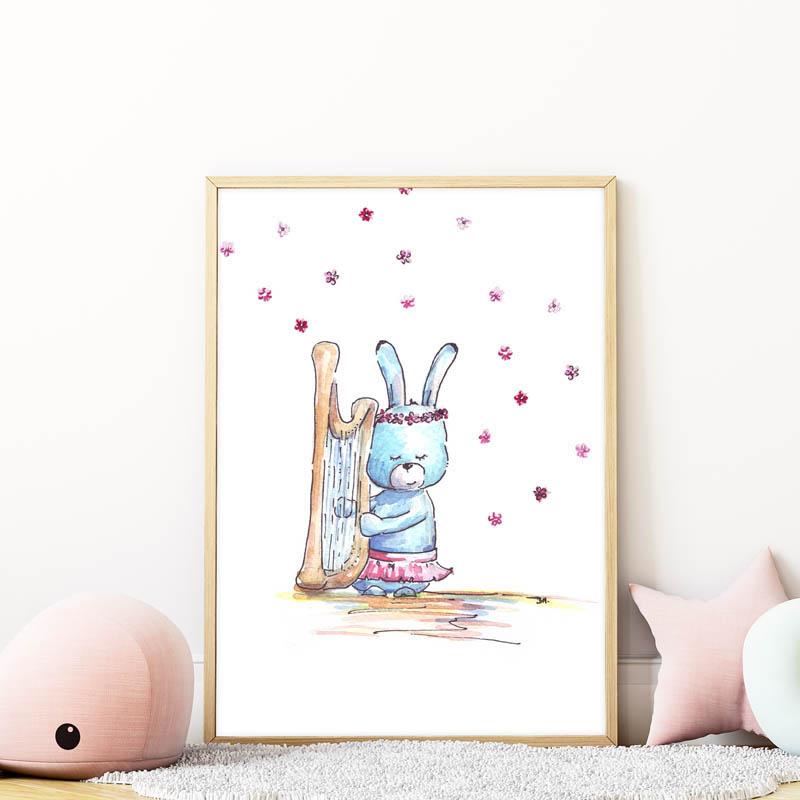hárfázó nyuszis falikép gyerekszobába mARTás