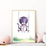 hintázó cicás falikép gyerekszobába mARTás