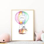 hőlégballonos falikép gyerekszobába mARTás