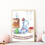 játszó elefántok falikép gyerekszobába mARTás