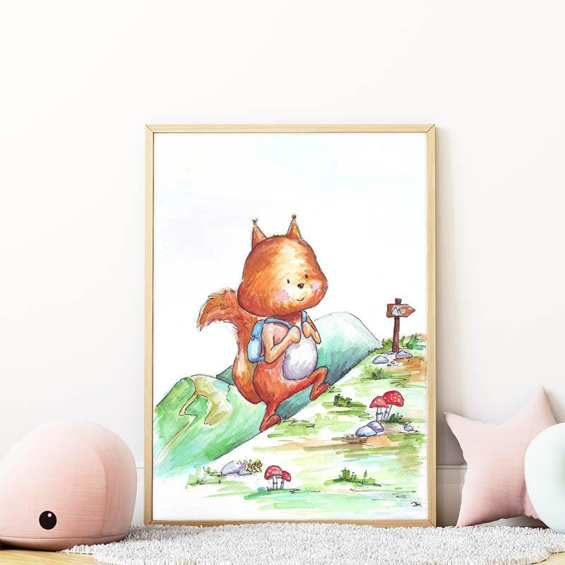 kiránduló mókus falikép gyerekszobába mARTás