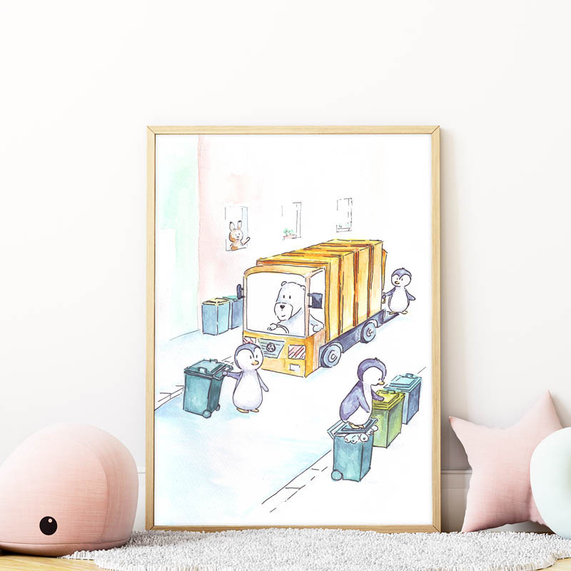 kukásautó falikép gyerekszobába mARTás