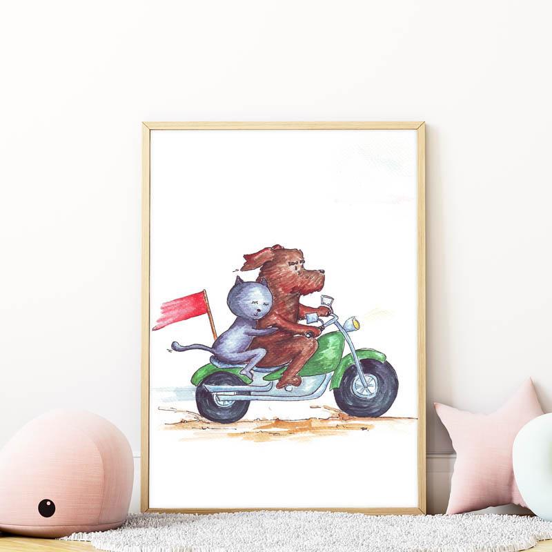 kutya-cica barátságot ábrázoló falikép gyerekszobába mARTás