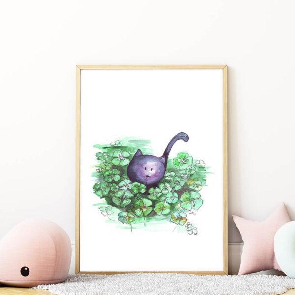 lóherés cicás falikép gyerekszobába mARTás