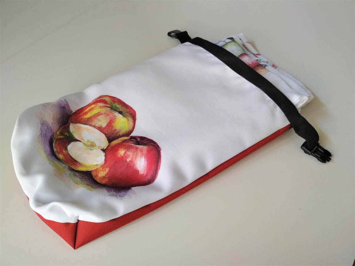 vízhatlan tároló zsák mARTás piros, almás