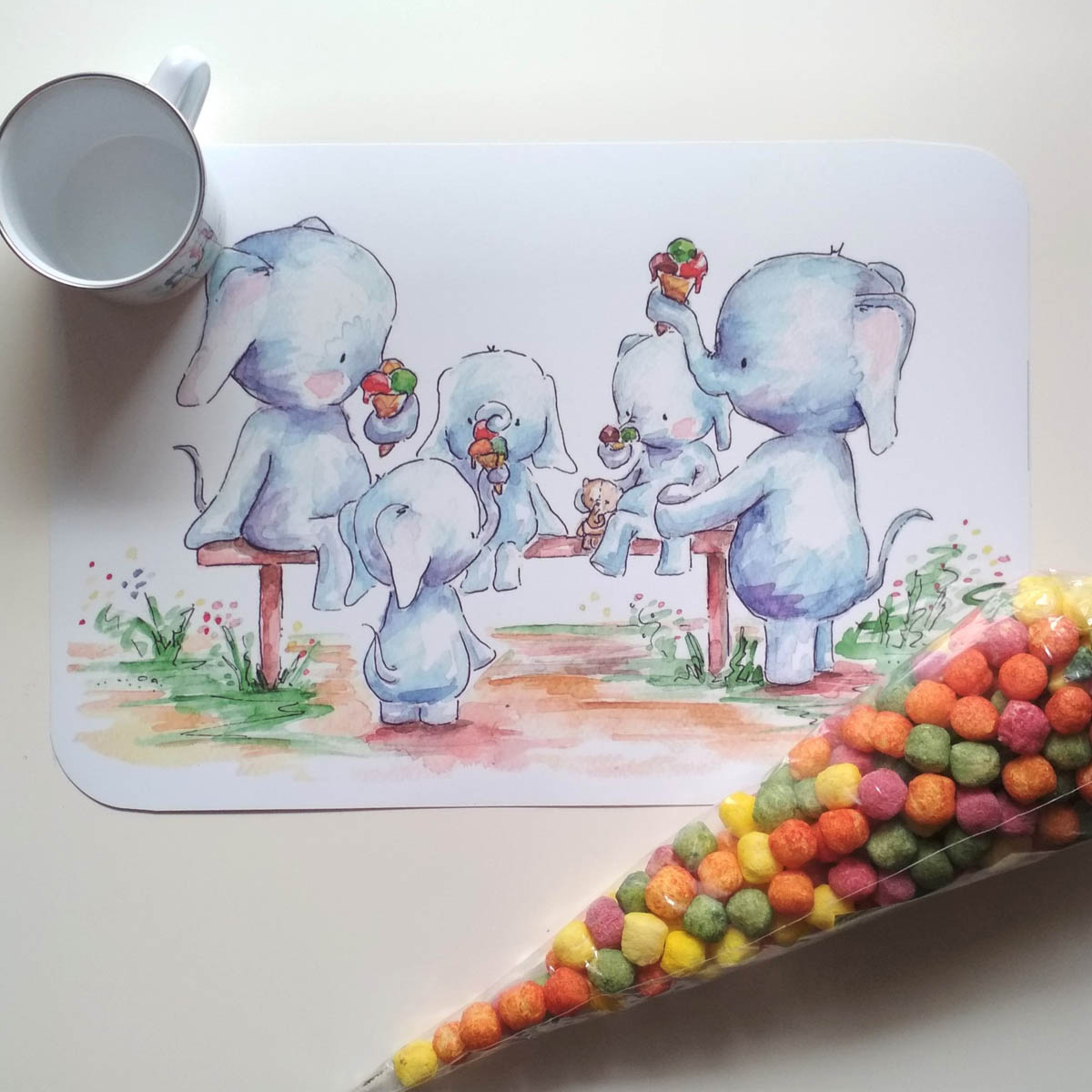 elefántos tányéralátét