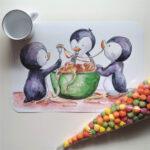 spagettiző pingvinek tányéralátét mARTás