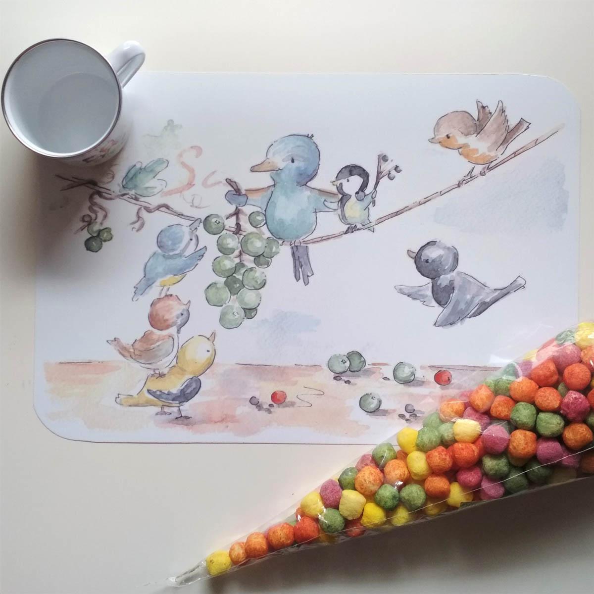 szüretelő állatok tányéralátét mARTás